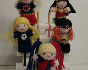 Crochet Finger Puppets Superheroes
