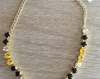 8MM Jet Black, Sunflower Yellow and Crystal Swarovski Necklace
