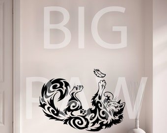 Cat Kitten Playing with Feather Swirl Pattern Vinyl Wall Art Sticker Decal Living Room Bedroom Hallway Childrens Bedroom