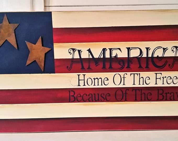 Primitive American Flag with Tin Stars