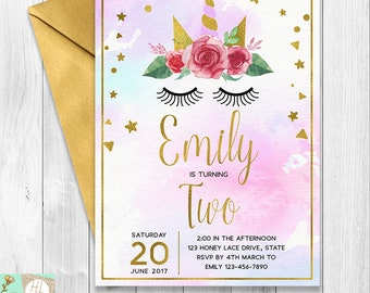 Unicorn Birthday Invitation, Wink Eyes Design, Gold Confetti Birthday Invitation, Floral Unicorn, Gold Foil Sparkle, Magical First Birthday