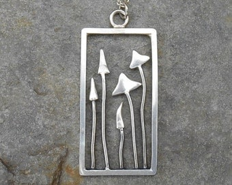 Hedgerow Fungi sterling silver pendant