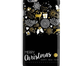 Christmas iPhone Case, Black iphone case, Deer iphone 6 case, Xmas iphone 6 case, New Year iphone 6s case, Holiday iphone case
