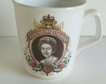 Silver Jubilee Of Queen Elizabeth II Authentic Souvenir Mug