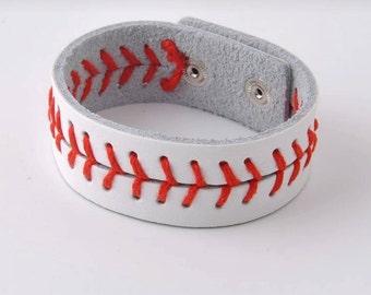 Baseball Bracelet / Baseball Fan / baseball jewelry / Sports Jewelry /Sports Fan / leather baseball / red seam baseball bracelet / Baseball