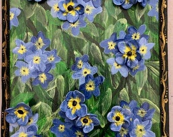 Forget-Me-Not flower painting on a wooden canvas