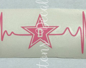 Dallas Cowboy EKG Heartbeat Football Decal - use on a Yeti, RTIC, or Ozark cup, Car window, Walls, Home Windows, etc.