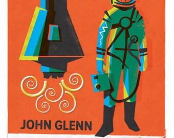 Spaceman, John Glenn, Mercury Astronaut, Space Exploration, Rocket Print
