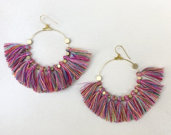 Pick Color/ Large Tassel Earrings/ Mini Tassels/ Bright Multicolor/ Tassel Hoop Earrings/ Mini Tassels/ 2 Inch Gold Hoop/ Brass Beads