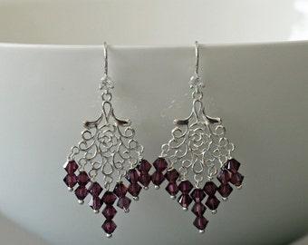 Amethyst Crystal Earrings -Amethyst Earrings -Birthstone Jewellery -Chandelier Earrings -Gift for Her -Handmade -Beaded Earrings -UK Shop
