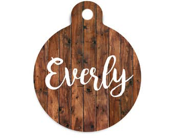 Personalized Name Tag, Faux Wood Pet Id Tag, Trendy Dog Tag, Custom Faux Wood Cat Tag, Modern Dog Tag, Collar Tag for Dogs, Custom Name Tag