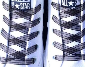 """Black Flat Shoelaces. 3/8"""" Black Lace Shoelaces. Converse Shoes, Bride Shoes, Weddings, Running Shoes, Parties, Fancy Shoes, Dress Shoes"""