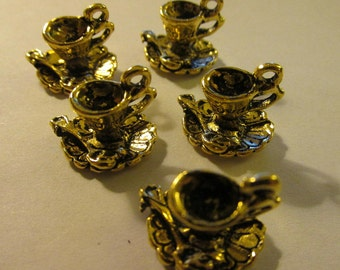 "Gold Tone Metal Mini Cup and Saucer Charms for Jewelry Making, 5/8"", Set of 5"