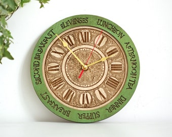Meal Times unique Wall Clock - personal engraved, Anniversary Gift, meal planning, kitchen clocks wall, rustic wall clock, gift for her