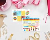Super Girls Weekly Sticker Kit - Set of 39 Planner Stickers perfect for Erin Condren Life Planner, Kikki K, Filofax Planner etc - Super Hero