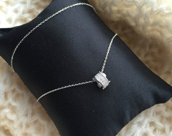 Silver 925k Ring Shape Necklace, decorated with zircon diamond, gift for her, super cute, delicate necklace,