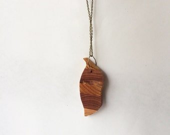 Cedar and cypress chile pepper necklace made with reclaimed wood