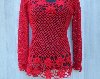 red lace dress, long sleeves mini dress, beach dress and cover up, crochet bikini cover up, women red mini dress, swimwear cover ups