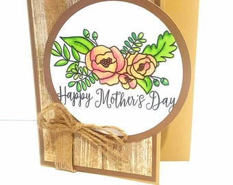 Mothers Day Wood & Floral Card