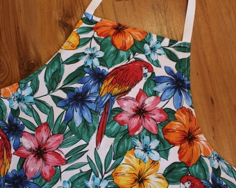 Ladies Floral Apron with parrots, Women's Apron, Teenagers Apron, Kitchen Apron, Cooking Apron, Hostess Apron, Chefs Apron, Mothers Apron
