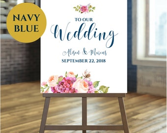 Printable Wedding Signs Welcome To Our Wedding Navy Wedding Calligraphy Sign Bohemian Wedding