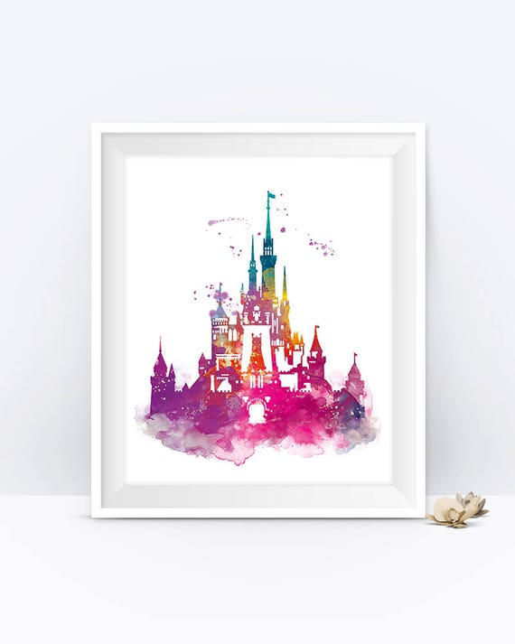 Cinderella Castle Watercolor Print Magic Kingdom Disney Art