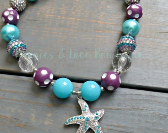 Under The Sea Bubblegum Necklace, Girls' Necklace, Starfish Necklace, Baby Girl Jewelry, Girls' Beaded Necklace