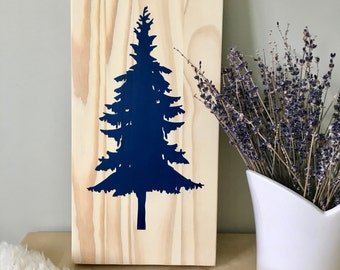 Wood Wall Art, Tree Painting, Spruce Tree, Pine Tree, Tree Art, Nature Art, Spruce Painting, Wall Décor, Home Décor, Navy Blue Decor, Nature