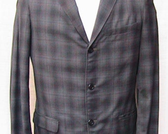 1980s Plaid CAMPUS Three Button Check Sport coat