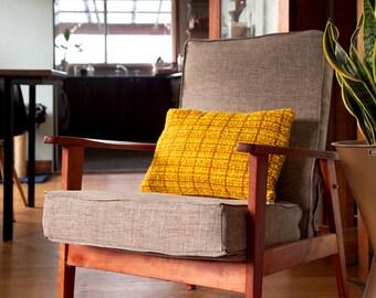 MUSTARD YELLOW Mid-Century Lumbar Cushion Cover with Zipper – Mod Throw Pillow, Retro Fabric, Vintage, Modern Textiles, Mid Mod Boho Decor