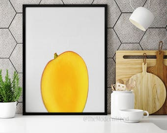 Mango Print, Fruit Art, Fruit Wall Print, Fruit Photo, Orange Print, Yellow Print, Kitchen Art, Kitchen Print, Photography, Food Art, F01