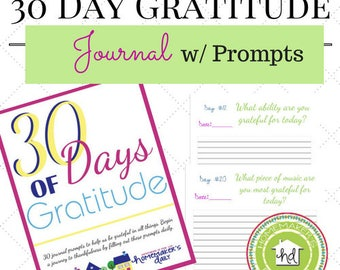 30 Day Gratitude Journal -With Prompts