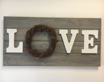 """Stained """"Love"""" with Grapevine Wreath"""