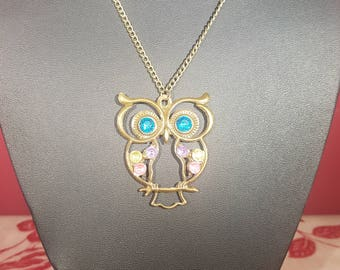 Summer Sale! - Bronze Owl charm necklace with Turquoise Rhinestone eyes