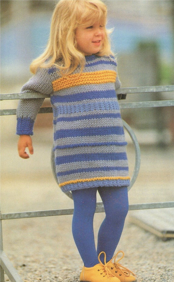 Girls Sweater Dress Pdf Knitting Pattern Childrens 22 23