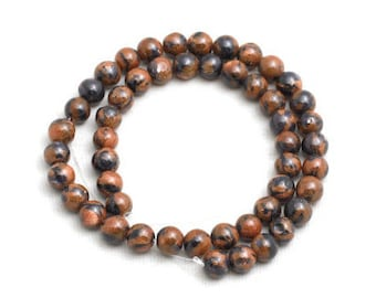 47Pcs Brown&Black Striped Sandstone Beads, Gemstone Beads, Natural Jewelry Beads, Full Strand, 8mm(Approx), sku/MRY36