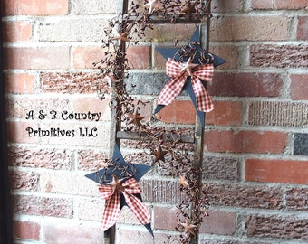 Country Primitive Ladder with Berry Garland and Decorated Wooden Stars, Rustic Ladder, Decorated Ladder, Country Ladder, Country Home Decor
