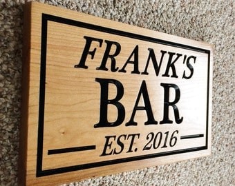 Personalized Bar Sign Custom Wooden Carved Sign Gift Established Sign
