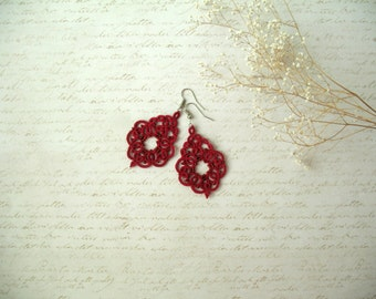 Tatting lace earrings Tatted jewelry Red earrings Birthday gift for woman Boho chic jewelry Bridesmaid earrings Dangle Beautiful earrings