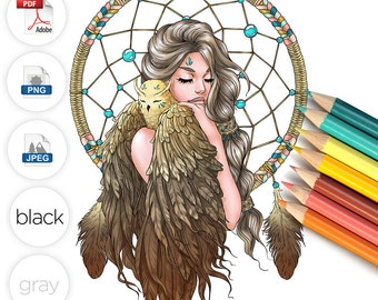 Adult Coloring Page Dreamcatcher