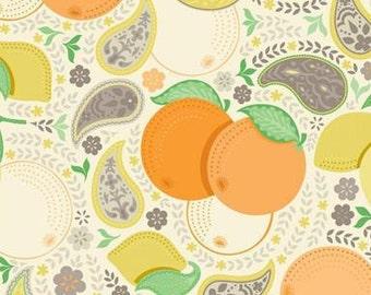 BTHY - Clementine by Ana Davis for Blend Fabrics, Patt. #113.104.01.1 Clementine Blossom Ivory, Lemons, Oranges, Paisleys, by the HALF YARD