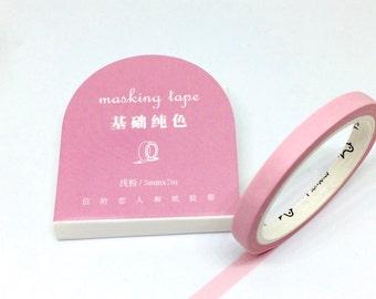 Pastel Pink Slim Washi Tape - Masking Tape Thin