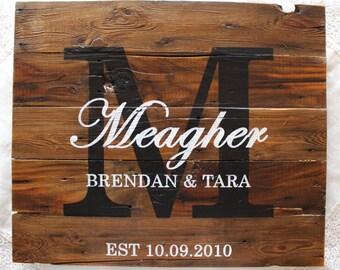 Rustic Wedding Sign - Custom Anniversary Gift - Housewarming Gift - Established Date - Custom Sign - Wedding Decor - Last Name Sign