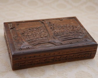 Vintage Indian Box, Hand Carved, Jewelry Box, Wood Gift, Gift For Her, Decorative Box, Trinket Box, Jewellery Box, Wooden Box, Home Decor