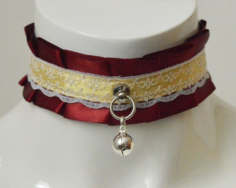 Kitten play collar - Eternal fire - dark red and yellow petplay ddlg cglre bdsm proof choker with bell and lace - kittenplay neko costume