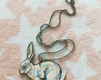 Cream Rabbit Wooden Necklace - Easter - Springtime - Handmade - 20in Chain