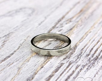 3mm Simple Silver Band Ring Small Flat Wedding