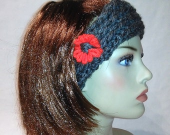 Gift for her, Headband, Gift for girlfriend, Turban, headwrap, grey and red, gift ideas