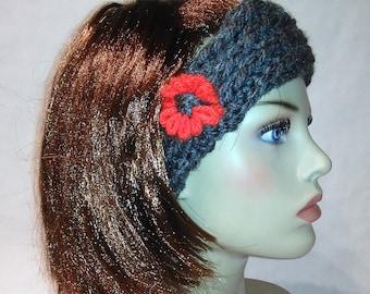 Headband ,Turban, headwrap, grey and red
