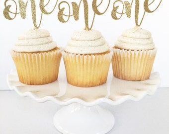 "First Birthday ""One"" Cupcake Toppers / ""One"" Cake Topper / First Birthday Decor / Cake Smash / Dessert Table / Pink and Gold"